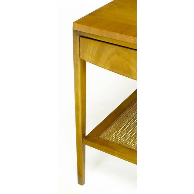 Pair Widdicomb Bleached Walnut & Cane Single Drawer End Tables - Image 9 of 10