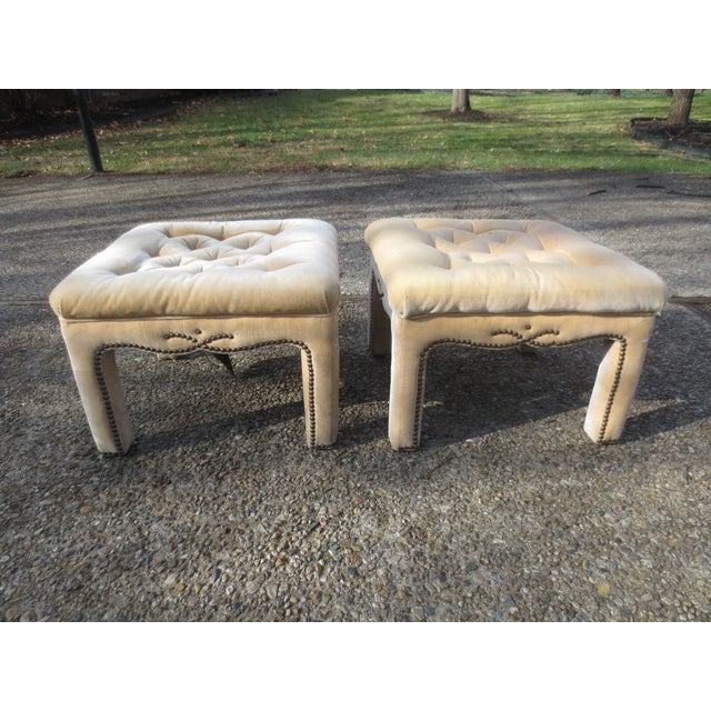 Vintage Parson's Style Ottomans - A Pair - Image 2 of 8