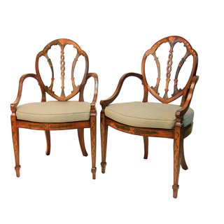 Satinwood Hand Painted Armchairs - Pair
