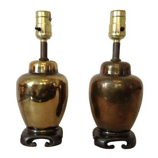 Asian Style Brass Lamps - A Pair