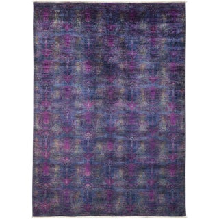 "Vibrance, Hand Knotted Contemporary Purple Wool Area Rug - 6' 2"" X 8' 6"""