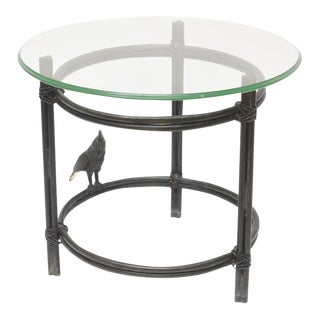 Maitland-Smith Solid Bronze Round Glass Side Table With Parrot