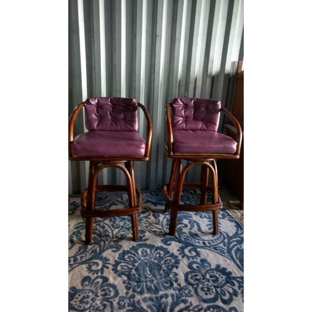 Vintage Purple Vinyl & Bamboo Bar Stools - A Pair - Image 4 of 5