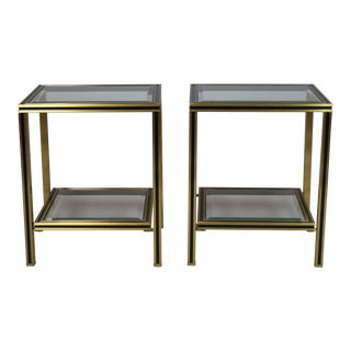 Pair of Brass & Glass Two Tier Side Tables