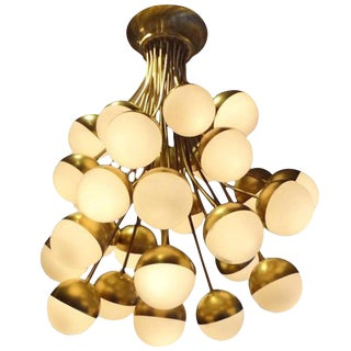 Stilnovo Rare Grand Scale 30-Light Mid Century Chandelier Italy circa 1958