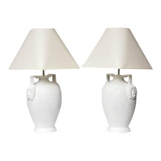 Pair of Egyptian Revival Style French Plaster Table Lamps