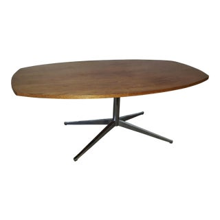 Florence Knoll X Chrome Base Walnut Dining Table