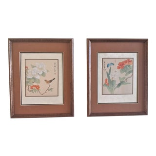 Vintage Framed Asian Silk Paintings - A Pair