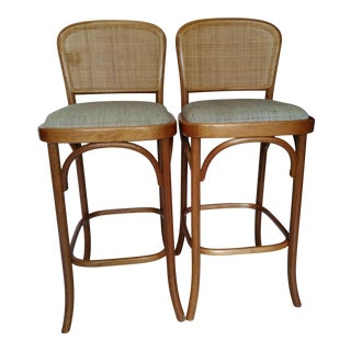 Vintage Mid-Century Style Bentwood Rattan & Caning Bar Stools - A Pair