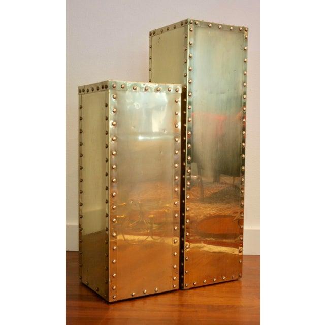 Sarreid-Style Brass Studded Pedestals - A Pair - Image 4 of 11