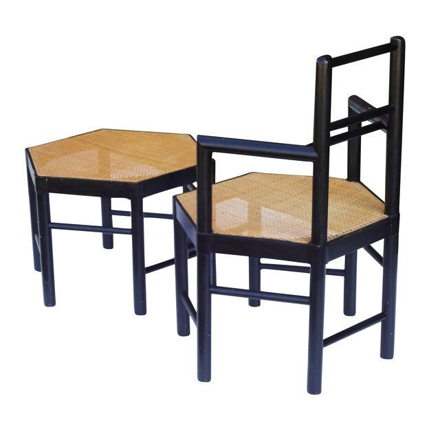 Josef Hoffmann Style Hexagonal Chair & Ottoman Set - Image 8 of 10