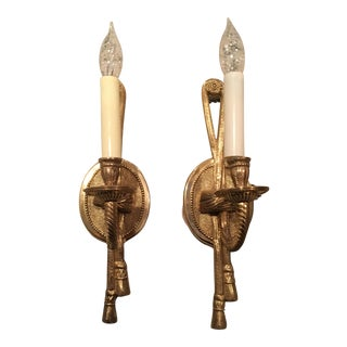 Gold Tassel Wall Sconces - A Pair