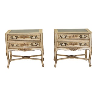 Italian Mid Century Carved & Gilt Accents Nightstands - a Pair