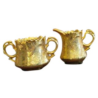 Ransgill 22k Gold Leaf Sugar Bowl & Creamer