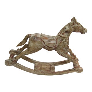 Antique Finish Large Carved Wood Rocking Pony
