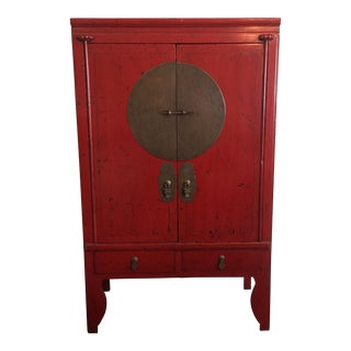 Red Asian Storage Armoire