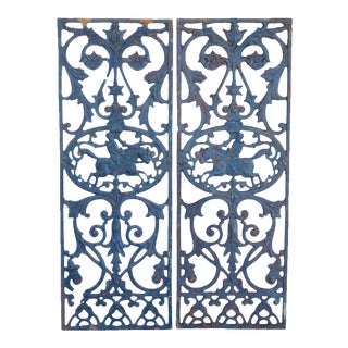 Antique Architectural Iron Panels - A Pair