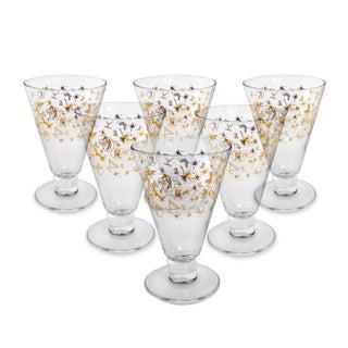 Retro Gold K & Cake Cocktail Glasses - Set of 6