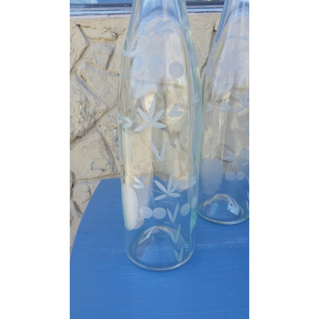 Etched Glass Water Bottles - A Pair - Image 3 of 4