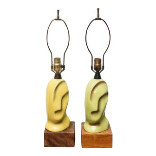 Pair of Ceramic Heifetz Lamps, One Pale Green and One Pale Yellow, 1950s USA