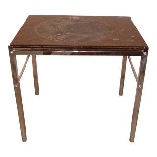Art Glass & Chrome Side Table