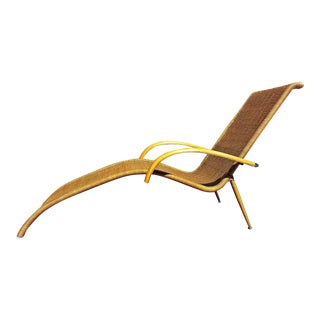 Vintage Mid Century Style Wicker Chaise Lounge