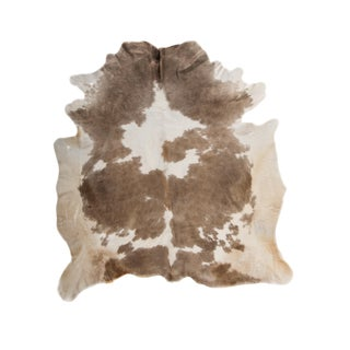 Beige & White Natural Cowhide Area Rug - 6′7″ × 7′