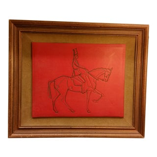 Embossed Leather Horse & Rider Wall Hanging
