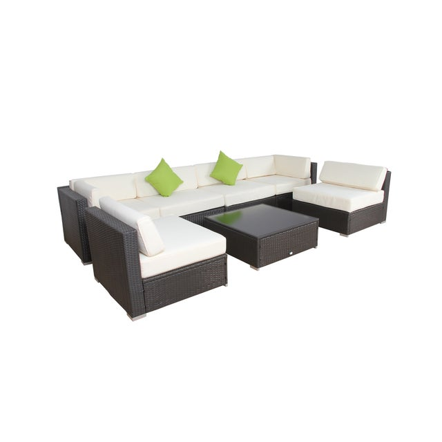 Modern Patio Rattan Sectional - Set of 7 - Image 3 of 7