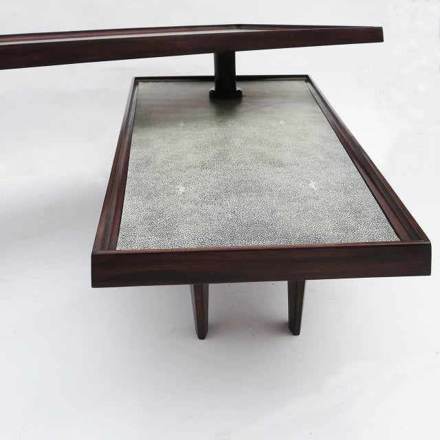 Modern Coffee Table Swing Out Level Faux Shagreen Chairish
