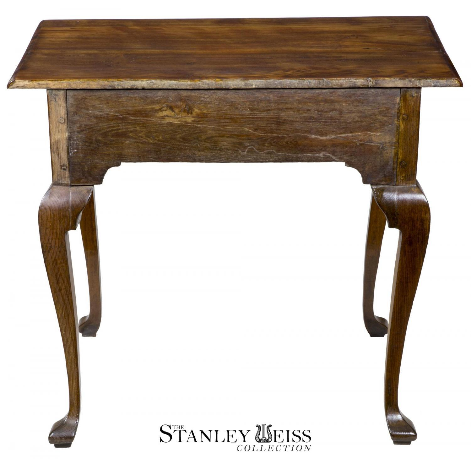 Provincial Oak U0026 Elm Queen Anne Side Table With Drawer   Image 4 ...