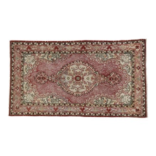 "Vintage Turkish Zeki Muren Distressed Sivas Area Rug - 3'10"" X 6'9"""