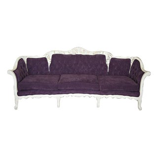 Vintage Couch Refinished with Plum Suede