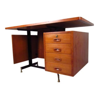 Mid-Century Teak Floating Top Desk