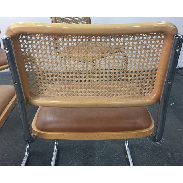 Image of Vintage Breuer Cesca Style Chrome & Cane Chairs - Set of 4