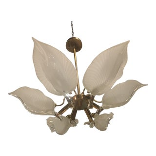 Murano Glass & Brass Chandelier Leaf