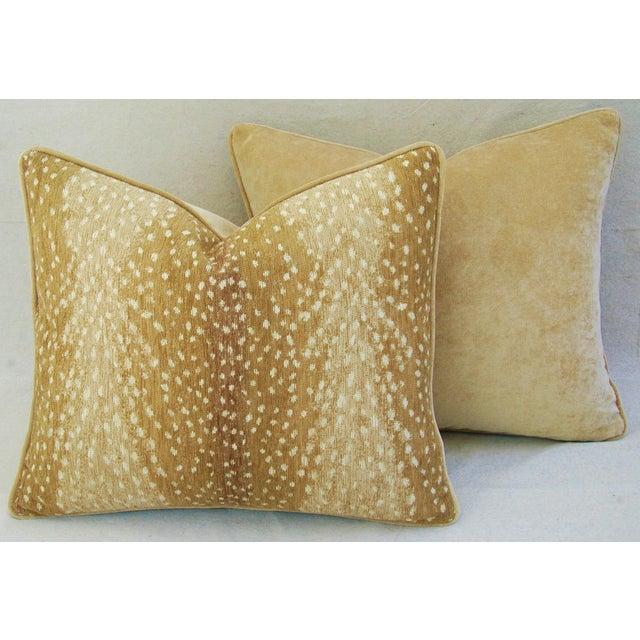 Antelope Fawn Spot Velvet Pillows- a Pair - Image 6 of 10