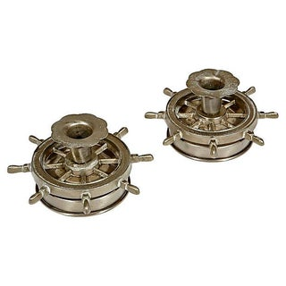 Nautical Metal Candleholders - Pair
