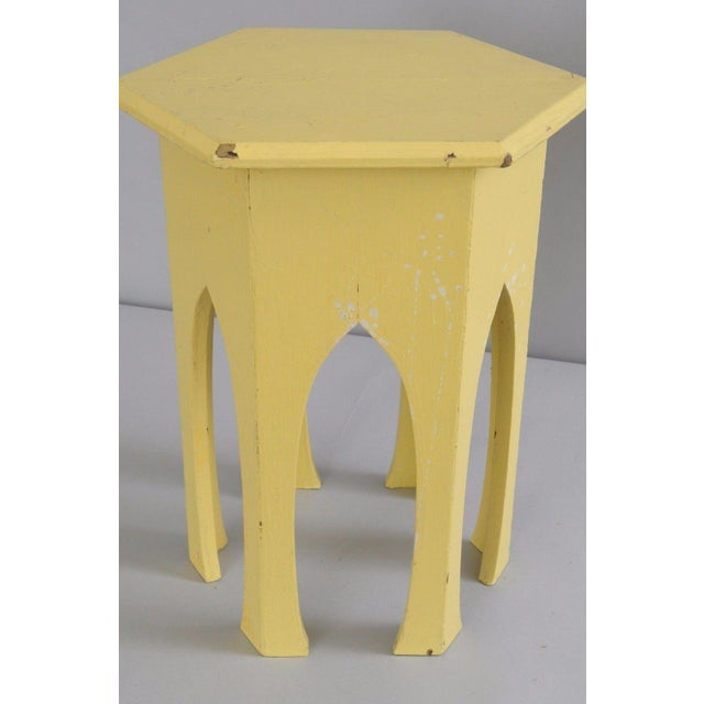 Primitive Rustic Moorish Style Yellow Painted Arched Accent Side Table - Image 6 of 11