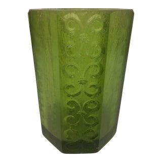1970s Sascha Brastoff Octagonal Green Resin Candle Holder