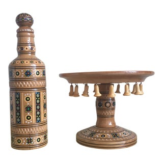 Boho Beaded Dessert Stand & Decor Bottle - Pair