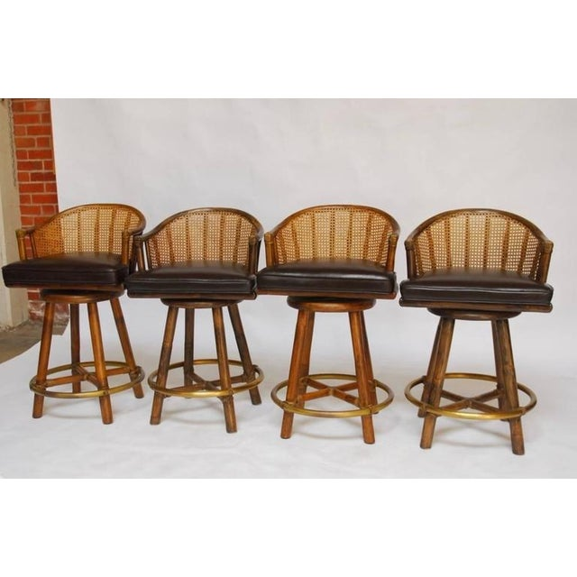 McGuire Bamboo & Cane Swivel Barstools - Set of 4 - Image 3 of 10