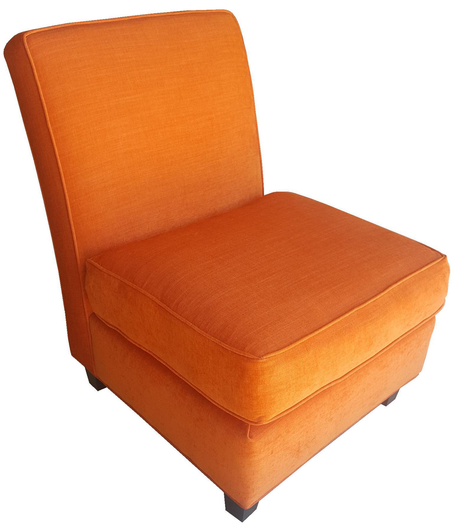 Orange Chenille Slipper Chair