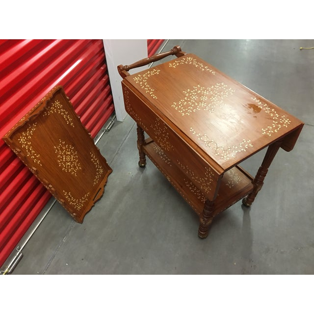 Filipino Drop-Leaf Inlaid Serving Tray Tea Cart - Image 11 of 11