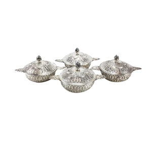 Circa 1910 Friedrich Reusswig German 800 Silver Lidded Soup Bouillons Ecuelles - Set of 4