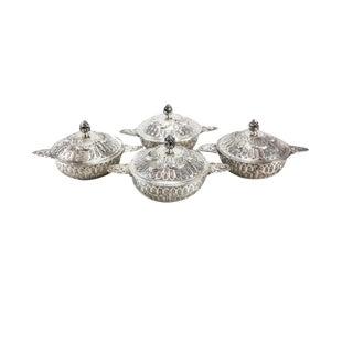 Circa 1910 Friedrich Reusswig German 800 Silver Lidded Soup Bouillons Ecuelles - Set of 4