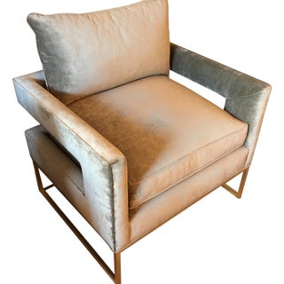 Velvet Gray Accent Chairs - A Pair