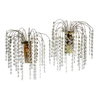 French Crystal Waterfall Sconces - a Pair