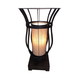 Rustic Industrial Lamp with Linen Shade