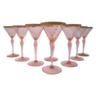Gilded Blush-Pink Optic Cocktail Glasses - S/8